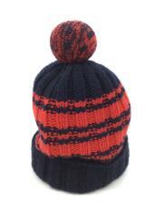 【キッズ】ニット帽 赤×黒 72