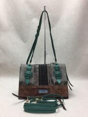 1BD081/エティケット/ショルダーバッグ/ハンドバッグ/グレー/レザー/パイソン/鞄