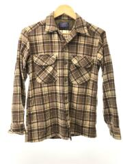 70s-80s/オープンカラーシャツ/長袖シャツ/S/ウール/BEG/チェック