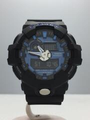 クォーツ腕時計/デジアナ/ラバー/ブルー/GA-710