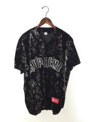 半袖シャツ/M/ベロア/黒/ブラック/Floral Velour Baseball Jersey