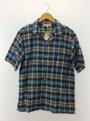 綿麻マドラスチェックオープンカラーシャ/UR85-13H004/半袖シャツ/L/リネン/BLU/チェック/1