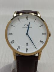 クォーツ腕時計/アナログ/レザー/GLD/BRW