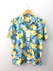 アロハシャツ/M/ポリエステル/BLU/花柄/LTD206