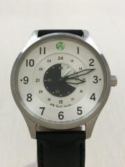 クォーツ腕時計/アナログ/レザー/WHT/BLK/1032-R009206