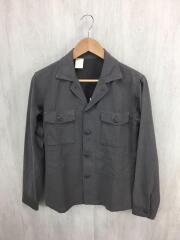 オープンカラーミリタリーシャツ/長袖シャツ/S/レーヨン/KHK/91606