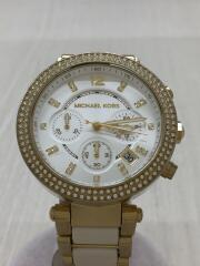 クォーツ腕時計/アナログ/ステンレス/WHT/GLD/MK-6119