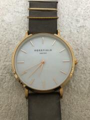 クォーツ腕時計/アナログ/レザー/SLV/GRY/W75-RF353