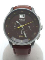 クォーツ腕時計/アナログ/レザー/BRW/BRW/VK73-K012