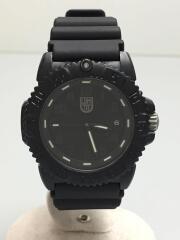 クォーツ腕時計/アナログ/ラバー/BLK/BLK/7050