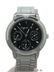 クォーツ腕時計/アナログ/ステンレス/BLK/SLV/V33J-0010