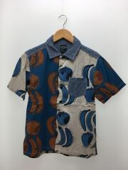 半袖シャツ/M/リネン/BLU/総柄/7125006/フルーツSSシャツ/バナナ・リンゴ