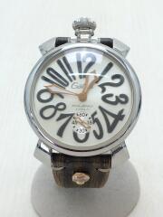 手巻腕時計/アナログ/ホワイト/ブラウン/MANUALE/ベルト使用感有