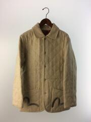 キルティングジャケット/40/ウール/アイボリー/カモメ刺繍