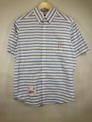 半袖シャツ/L/コットン/BLU/ストライプ