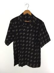 オープンカラーシャツ/40/ナイロン/ブラック/総柄/ハイストレッチタフタ