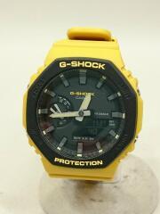 クォーツ腕時計/デジアナ/ラバー/ブラック/イエロー/GA-2110SU