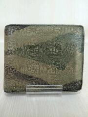2つ折り財布/--/KHK/総柄/メンズ/サンローラン