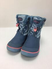 キッズ靴/19.5cm/ブーツ/コットン/BLU