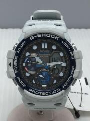 クォーツ腕時計/デジアナ/ラバー/グレー/ホワイト