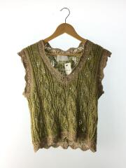 19SS/MM19SS-KN037/Silk Linen Knit Tops/ベスト/S/リネン/YLW/総柄