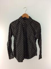 丸襟ドットシャツ/ラウンドカラー/長袖シャツ/S/コットン/BLK/ドット