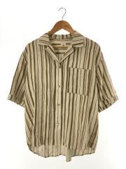 STRIPE PRINT SHORT SLEEVE SHIRT/半袖シャツ/36/リネン/BEG/ストライプ