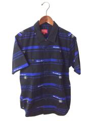 18AW/Striped Racing Work Shirt/半袖シャツ/S/コットン/BLK