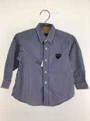 綿ブロードストライプシャツ/黒ハート/SIZE:2/コットン/BLU/ストライプ