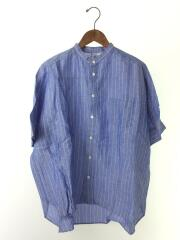 リネンバンドカラーSSシャツ/半袖シャツ/FREE/リネン/BLU/ストライプ