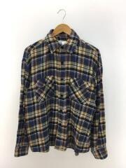ネルシャツ/フラップポケット/オーバーサイズ/L/--/BLU/チェック