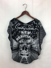 100/2 jersey SL pt. heart T-shrt/Tシャツ/38/コットン/ブラック/黒/中古