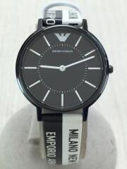 腕時計/アナログ/レザー/BLK/WHT/AR-11253/中古/USED/箱有