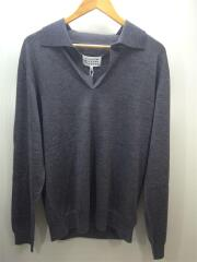 セーター(薄手)/L/ウール/灰/グレー/⑩/19AW/長袖ニットポロシャツ/S50GL0003/タグ