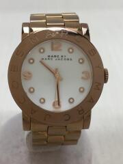 クォーツ腕時計/アナログ/ステンレス/WHT/GLD/MBM3077/