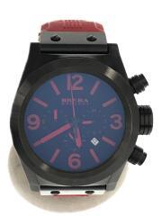 クォーツ腕時計/アナログ/ラバー/BLK/RED/中古/USED/AC09