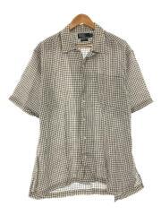 半袖シャツ/L/リネン/WHT/チェック