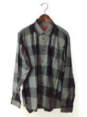 20ss/logo plaid shirt/長袖シャツ/L/コットン/BLK/チェック/全タグ