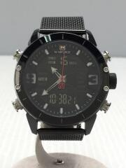 NAVIFORCE/クォーツ腕時計/デジアナ/ステンレス/BLK/BLK/NF9153M