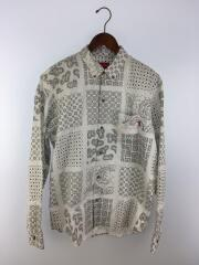 長袖シャツ/L/コットン/ホワイト/ペーズリー20SS/paisley grid shirt/全タク