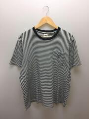 ポケットTシャツ/L/コットン/BLK/ボーダー