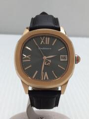 クォーツ腕時計/アナログ/レザー/GRY/OR0078