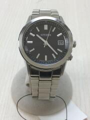 ソーラー腕時計/アナログ/ステンレス/BLK/SLV/H415-R005677