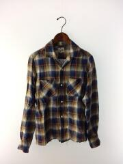 オープンカラー/長袖シャツ/S/リネン/BLU/チェック