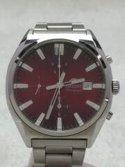 クォーツ腕時計/アナログ/ステンレス/RED/SLV/