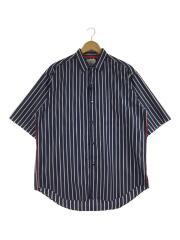 19年/ストライプオーバーSS/409340010/半袖シャツ/3(L)/コットン/ブルー/ストライプ