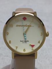 クォーツ腕時計/アナログ/レザー/ホワイト/861604/0484