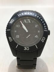 アルマーニエクスチェンジ//クォーツ腕時計/アナログ/ブラック/AX1264/キズ・使用感有