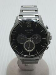 ソーラー腕時計/セイコー/V175-0AV0/アナログ/ブラック