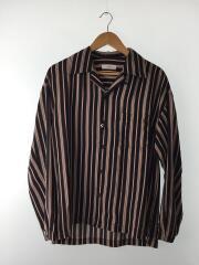 オープンカラーシャツ/長袖シャツ/M/ポリエステル/BLK/ストライプ/L18AW-181